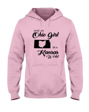 JUST An OHIO GIRL IN A KANSAS WORLD Hooded Sweatshirt front
