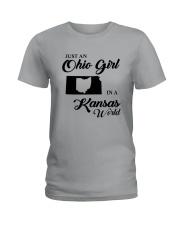 JUST An OHIO GIRL IN A KANSAS WORLD Ladies T-Shirt thumbnail