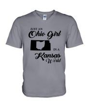 JUST An OHIO GIRL IN A KANSAS WORLD V-Neck T-Shirt thumbnail