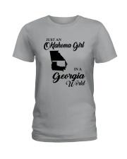 JUST AN OKLAHOMA GIRL IN A GEORGIA WORLD Ladies T-Shirt thumbnail