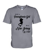 JUST A PENNSYLVANIA GIRL IN A NEW JERSEY WORLD V-Neck T-Shirt thumbnail