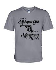 JUST A MICHIGAN GIRL IN A MARYLAND WORLD V-Neck T-Shirt thumbnail