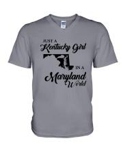 JUST A KENTUCKY GIRL IN A MARYLAND WORLD V-Neck T-Shirt thumbnail