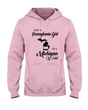 JUST A PENNSYLVANIA GIRL IN A MICHIGAN WORLD Hooded Sweatshirt front