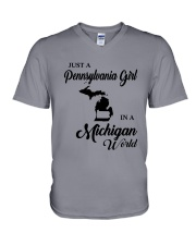 JUST A PENNSYLVANIA GIRL IN A MICHIGAN WORLD V-Neck T-Shirt tile