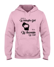JUST A WASHINGTON GIRL IN A WISCONSIN WORLD Hooded Sweatshirt front