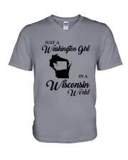 JUST A WASHINGTON GIRL IN A WISCONSIN WORLD V-Neck T-Shirt thumbnail