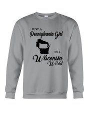 JUST A PENNSYLVANIA GIRL IN A WISCONSIN WORLD Crewneck Sweatshirt thumbnail
