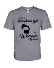 JUST A PENNSYLVANIA GIRL IN A WISCONSIN WORLD V-Neck T-Shirt thumbnail