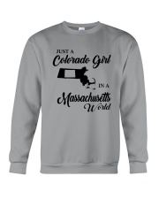 JUST A COLORADO GIRL IN A MASSACHUSETTS WORLD Crewneck Sweatshirt thumbnail