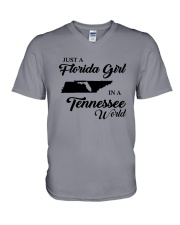 JUST A FLORIDA GIRL IN A TENNESSEE WORLD V-Neck T-Shirt thumbnail