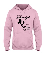 JUST AN INDIANA GIRL IN A TEXAS WORLD Hooded Sweatshirt front
