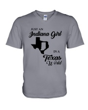JUST AN INDIANA GIRL IN A TEXAS WORLD V-Neck T-Shirt thumbnail