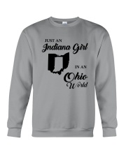 JUST AN INDIANA GIRL IN AN OHIO WORLD Crewneck Sweatshirt thumbnail