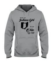 JUST AN INDIANA GIRL IN AN OHIO WORLD Hooded Sweatshirt tile