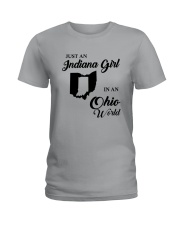 JUST AN INDIANA GIRL IN AN OHIO WORLD Ladies T-Shirt thumbnail