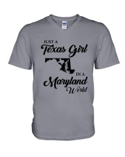 JUST A TEXAS GIRL IN A MARYLAND WORLD V-Neck T-Shirt thumbnail
