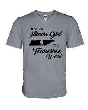 JUST AN ILLINOIS GIRL IN A TENNESSEE WORLD V-Neck T-Shirt thumbnail