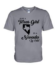 JUST A TEXAS GIRL IN A NEVADA WORLD V-Neck T-Shirt thumbnail