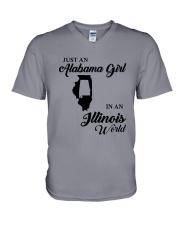 JUST AN ALABAMA GIRL IN AN ILLINOIS WORLD V-Neck T-Shirt thumbnail