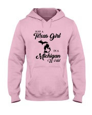 JUST A TEXAS GIRL IN A MICHIGAN WORLD Hooded Sweatshirt front