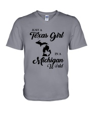 JUST A TEXAS GIRL IN A MICHIGAN WORLD V-Neck T-Shirt thumbnail