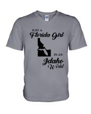 JUST A FLORIDA GIRL IN AN IDAHO WORLD V-Neck T-Shirt thumbnail