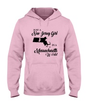 JUST A NEW JERSEY GIRL IN A MASSACHUSETTS WORLD Hooded Sweatshirt front