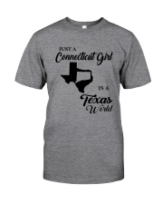 JUST A CONNECTICUT GIRL IN A TEXAS WORLD Classic T-Shirt thumbnail