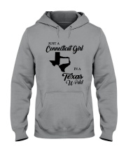 JUST A CONNECTICUT GIRL IN A TEXAS WORLD Hooded Sweatshirt tile