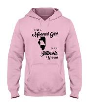 JUST A MISSOURI GIRL IN AN ILLINOIS WORLD Hooded Sweatshirt front