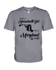 JUST A MASSACHUSETTS GIRL IN A MARYLAND WORLD V-Neck T-Shirt thumbnail