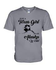 JUST A TEXAS GIRL IN AN ALASKA WORLD V-Neck T-Shirt thumbnail