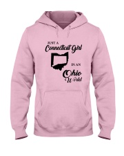 JUST A CONNECTICUT GIRL IN An OHIO WORLD Hooded Sweatshirt front