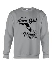 JUST AN IOWA GIRL IN A FLORIDA WORLD Crewneck Sweatshirt thumbnail
