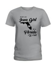 JUST AN IOWA GIRL IN A FLORIDA WORLD Ladies T-Shirt thumbnail