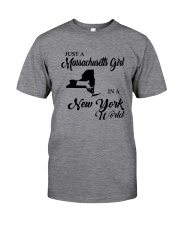 JUST A MASSACHUSETTS GIRL IN A NEW YORK WORLD Classic T-Shirt thumbnail