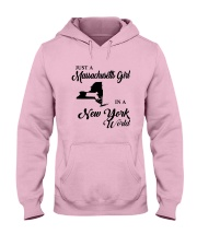 JUST A MASSACHUSETTS GIRL IN A NEW YORK WORLD Hooded Sweatshirt front