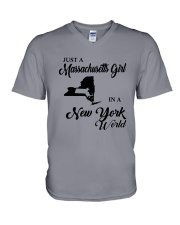 JUST A MASSACHUSETTS GIRL IN A NEW YORK WORLD V-Neck T-Shirt thumbnail