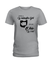 JUST A WASHINGTON GIRL IN AN OHIO WORLD Ladies T-Shirt thumbnail