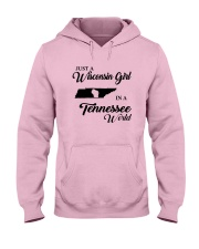 JUST A WISCONSIN GIRL IN A TENNESSEE WORLD Hooded Sweatshirt front