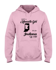 JUST A MINNESOTA GIRL IN AN INDIANA WORLD Hooded Sweatshirt front