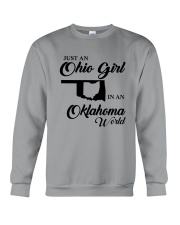JUST An OHIO GIRL IN An OKLAHOMA WORLD Crewneck Sweatshirt thumbnail