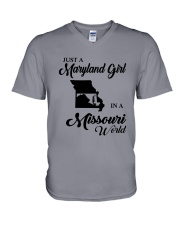 JUST A MARYLAND GIRL IN A MISSOURI WORLD V-Neck T-Shirt thumbnail