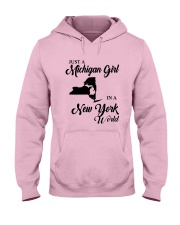 JUST A MICHIGAN GIRL IN A NEW YORK WORLD Hooded Sweatshirt front