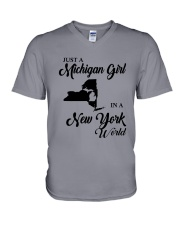 JUST A MICHIGAN GIRL IN A NEW YORK WORLD V-Neck T-Shirt thumbnail