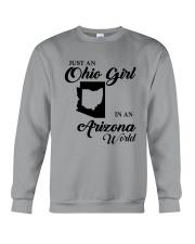 JUST An OHIO GIRL IN An ARIZONA WORLD Crewneck Sweatshirt thumbnail