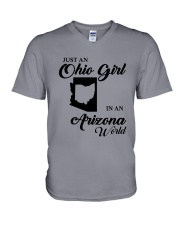 JUST An OHIO GIRL IN An ARIZONA WORLD V-Neck T-Shirt thumbnail