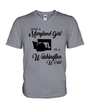 JUST A WASHINGTON GIRL IN A MARYLAND WORLD V-Neck T-Shirt thumbnail