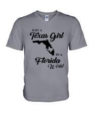 JUST A TEXAS GIRL IN A FLORIDA WORLD V-Neck T-Shirt thumbnail